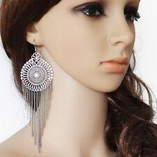 Large 15cm dream catcher style silver tassel chandelier earrings