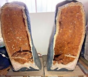 Amazing Citrine Twin Geodes Caves 583.2KG KG Rare Crystals Display