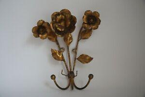 Vintage Wall Hook Sconce Gold Gilt Tole Floral Design