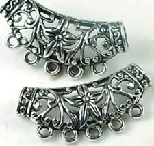 2 Pewter Flower Filigree Pendant Connector for Jewelry Making necklace   5- hole