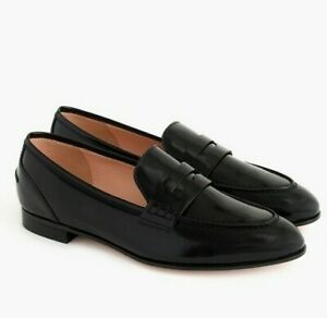 NEW J. Crew Black Academy Penny Loafer Flats Leather Shoes J.Crew J8501 8.5M 8.5