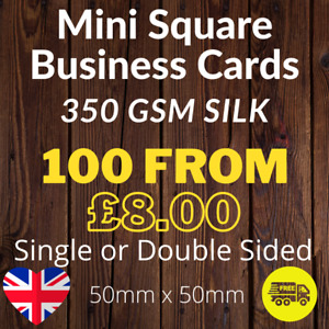 Mini Square Cards Full Colour Single or Double Sided 350gsm Card 50mm x 50mm