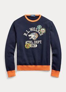 Polo Ralph Lauren Sportsman Patch Fleece Wolves Rugby Pullover Sweatshirt Medium