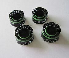 4x LP Custom Control Knobs Speed Dial Knobs Black w/ Green fits Les Paul