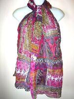 "NWT WORLD MARKET INDIA Scarf Shawl Paisley Floral Metallic Sheer New 72 x 20"""