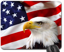 Patriotic Bald Eagle American Flag Non-Slip Rubber Mouse Pad