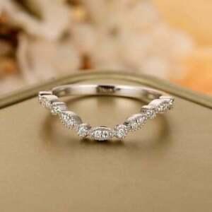 Round Diamond Half Eternity Curved Minimalist Tiny Wedding Band 9Ct Gold