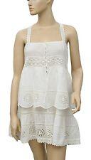 146297 New Intimately Free People Lace Eyelet Tiered Ivory Tunic Dress XS