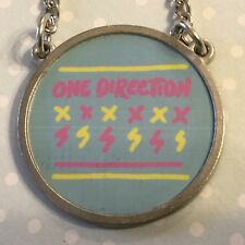 "One Direction Round Charm Name Necklace 20"" Long Blue Pink Yellow Charm"