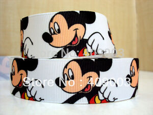 """Mickey Mouse Ribbon 7/8"""" (22mm) Wide 1m is only £1.49 NEW UK SELLER"""