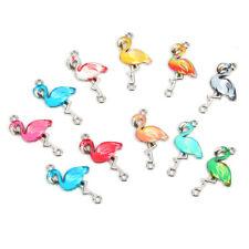 10pcs Flamingo Enamel Alloy Bracelets Connectors Animal Charms For DIY Necklace