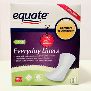 Equate Everyday Panty Liners Long Jumbo Pack 108 Count Dri-Fit Pads New