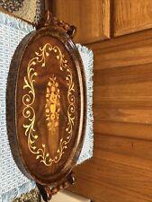 Handle Inlaid Wood Tray Sorrento Italy. 16x9.5x1.25� Flower Inlay Matflower