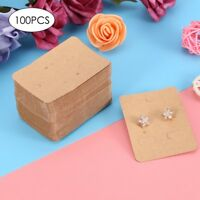100x Kraft Paper Jewelry Earring Ear Studs Hanging Display Holder Hang Cards Hot