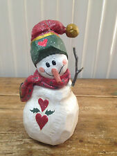 House of Hatten 1998 Calla Snowman Figurine Hearts Good Cheer Jackson Hole LARGE