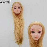 Doll Head with Golden Straight Long Hair Heads For 1/6 Princess Doll Head DIY
