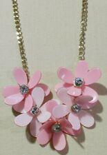 "CHARMING CHARLIE Pink Statement Flower Floral Necklace Rhinestone Center 20-23"""