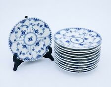 12 Plates #1087 - Blue Fluted - Royal Copenhagen - Full Lace - 1:st Quality
