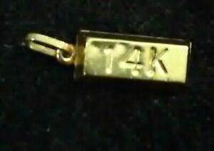 14k Yellow Gold Bar Charm Pendant