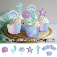 40Pcs/set Mermaid Cake Wrappers Toppers Baby Shower Birthday Cupcake Decoration