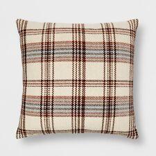 "Woven Plaid Throw Pillow - Cream/Brown - Oversized Square 24"" x 24"" - Threshold"