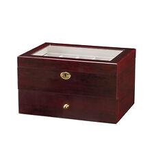 6/12/20/24 Watch Display Case Wooden Glass Top Jewelry Storage Organizer Box