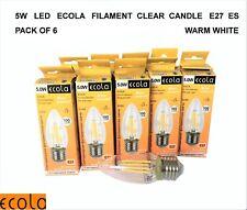 6 X 5W LED £2.25 each ECOLA Filament Clear Candle Light Bulb E27 ES WARM WHITE