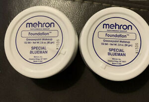 Mehron Foundation Greasepaint Special Blueman 2.8oz  NEW!  Set Of 2!