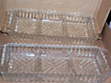 Vintage two 9x4x1 glass three sections  condiment holder dishes.