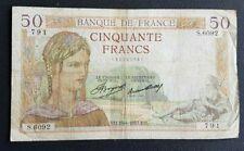 FRANCE - FRANCIA - FRENCH NOTE - BILLET DE 50 FRANCS CERES 15/4/1937.