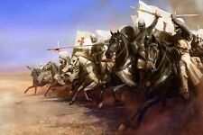 Medieval knights crusades abstract art poster fabric silk 12x18 inch print decor