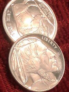 Lot Of 2 Each 1/4 Troy Oz 999 Fine Silver Each, Indiana Head Buffalo Round BU.