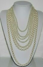 RUNWAY BOLD HEAVY OPERA DRAMA SEVEN STRANDS NECKLACE OF WHITE GLASS FAUX PEARLS