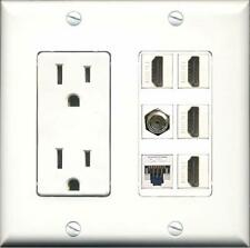 15A Power Outlet, 4 HDMI, 1 Cat5e Ethernet, 1 Coax Cable TV Wall Plate
