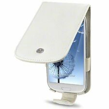 For Samsung Galaxy S3 i9300 Genuine Leather Flip Case - White / Cream Inside