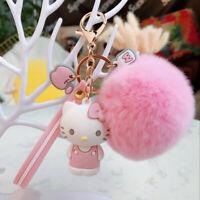 Cute 3D Hello Kitty Keychain Key Chain Pom Pom Fur Ball Keyring Charm Nice Gift