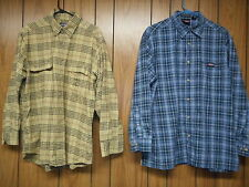 2 SHIRTS: Dickies Blue Plaid. Woolrich Tan. Long Sleeves Size Large Pockets mens