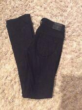 TRUE RELIGION Black Skinny Jeans Sz 26 (29x33) Style #W702074EL Made in USA -EUC