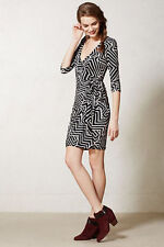 Lena Wrap Dress Black Printed Faux-Wrap By Vanessa Virginia Anthropologie Size M
