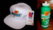 NWT VTG White GATORADE Sports Specialties Snapback Hat Jordan Cap + 80's BOTTLE
