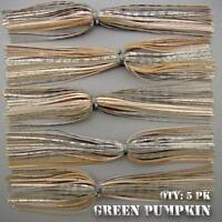 Skirts Hole In One TROPHY GREEN PUMPKIN pike, musky, lunker bass lures. Qty: 5pk