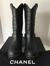 New Chanel 14A Oily Cal Star Harness Motorcycle Biker High Boots, Black, Size 35