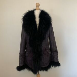 Purple Vintage 90s Leather Suede Fur Afghan Penny Lane Coat Small 8