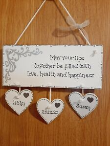 PERSONALISED ENGAGEMENT ANNIVERSARY WEDDING NEW HOME KEEPSAKE PLAQUE