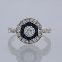 Sapphire and Diamond Target Ring 18ct White Gold Size K 1/2