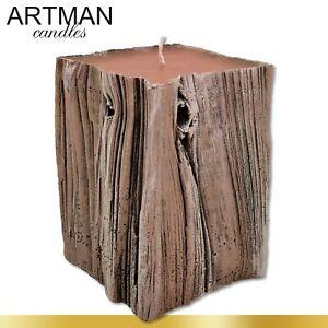 Sandalwood Kerze mit Sandelduft | 1 kg | Kiefernholzoptik Geschenk Adventskranz