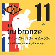 Rotosound TB11 Tru Bronze 80/20 Acoustic Guitar Strings  Light Gauge 11-52