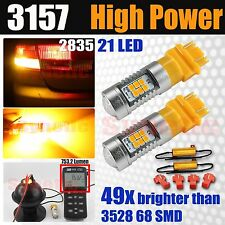 3157 High Power 50W SMD Amber Yellow LED Turn Signal Parking Lights + Resistors