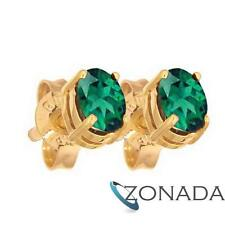 Emerald Oval 9k 9ct Solid Yellow Gold Stud Earrings 51415/g