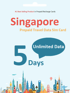 $1.9/day 5 days Singapore Prepaid Travel data SIM card UNLIMITED DOWNLOAD